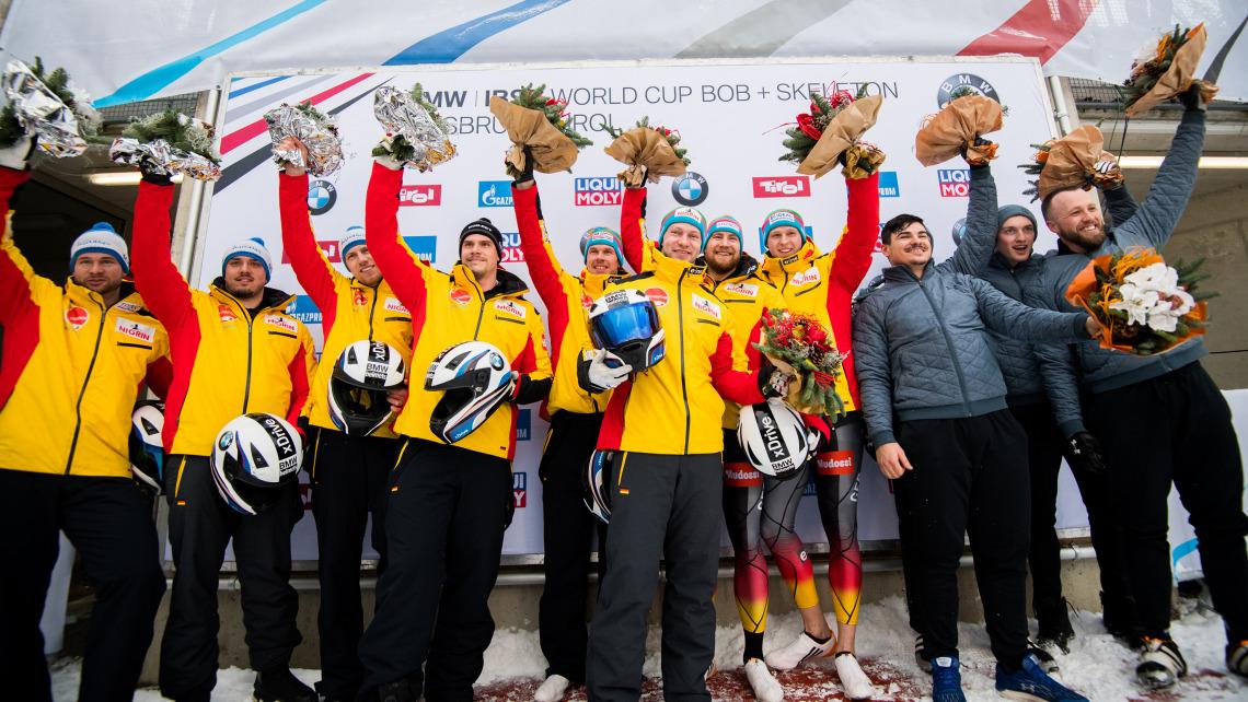 Gelb dominierte beim Weltcup in Innsbruck-Igls: Die deutschen 4er-Bobteams Friedrich und Lochner errangen einen Doppelsieg. (Foto: Viesturs Lacis)