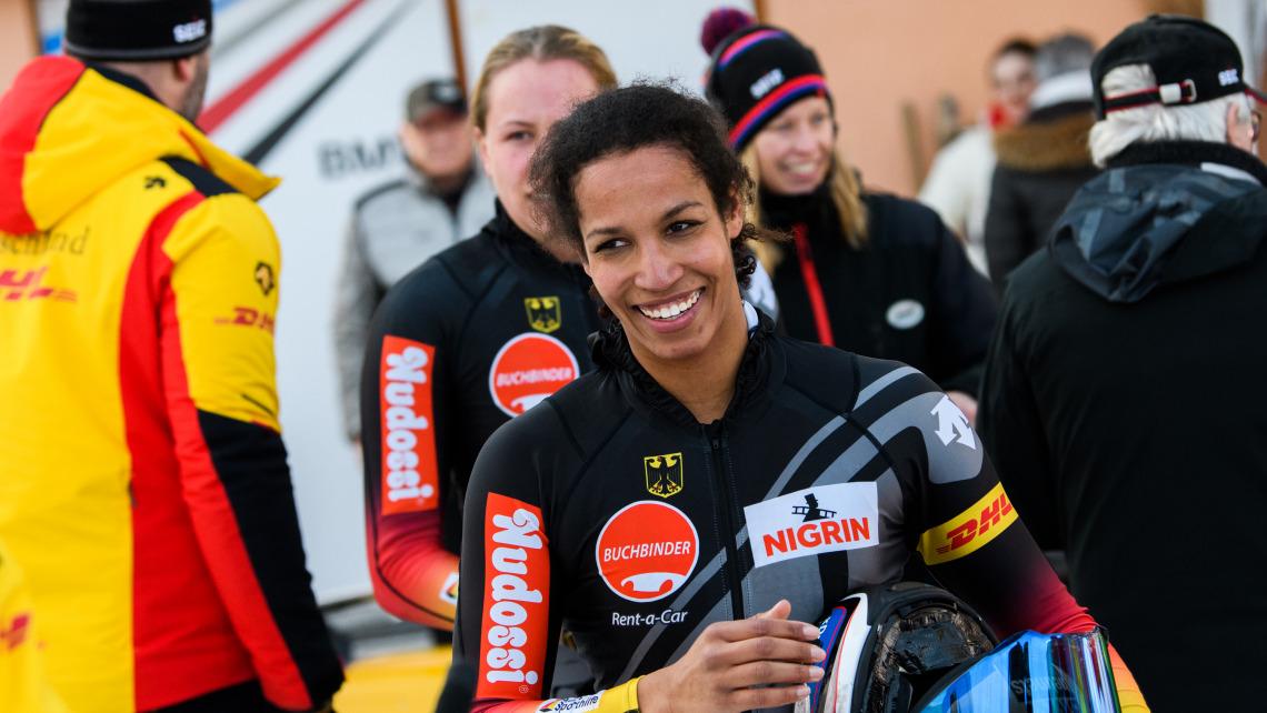 Glücklich über den zweiten Platz: Bobpilotin Mariama Jamanka fuhr in St. Moritz aufs Siegertreppchen. (Foto: Viesturs Lacis)