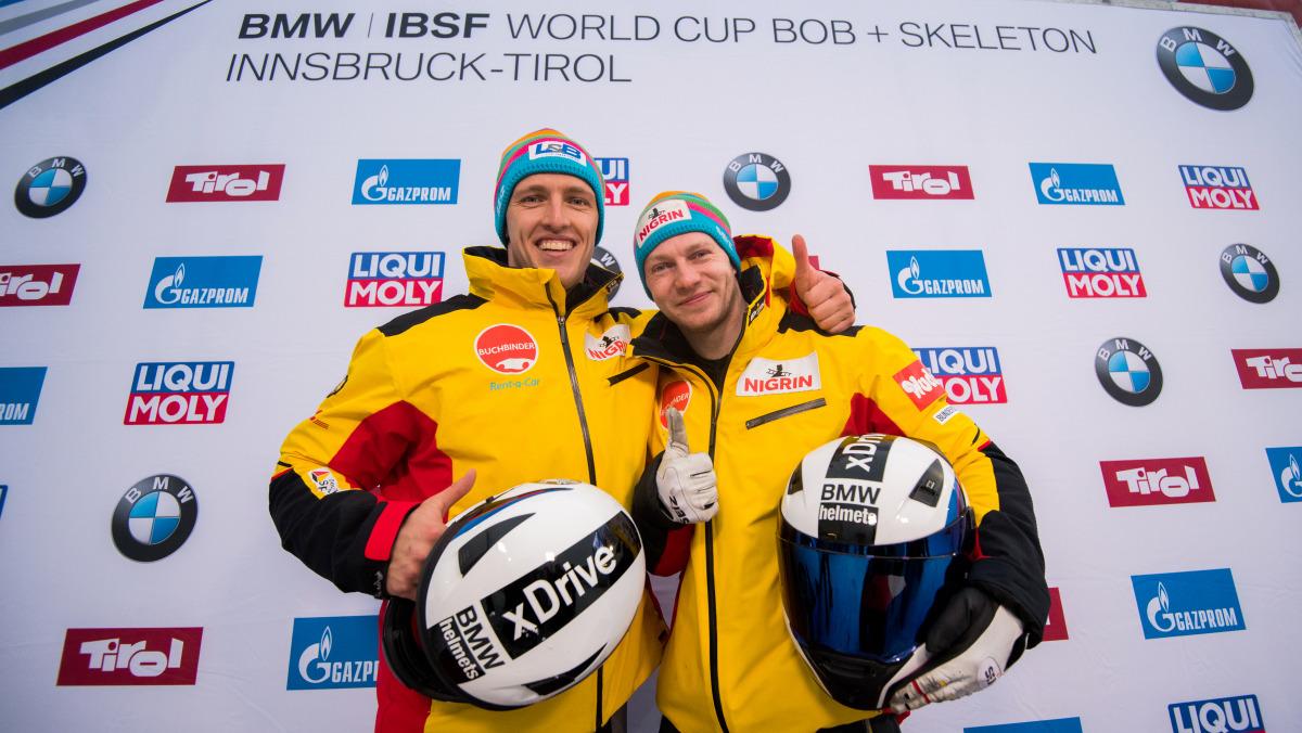 Francesco Friedrich und Thorsten Margis gewannen in Innsbruck-Igls mit einem Riesenvorsprung von 74 Hundertstel. (Foto: Viesturs Lacis)