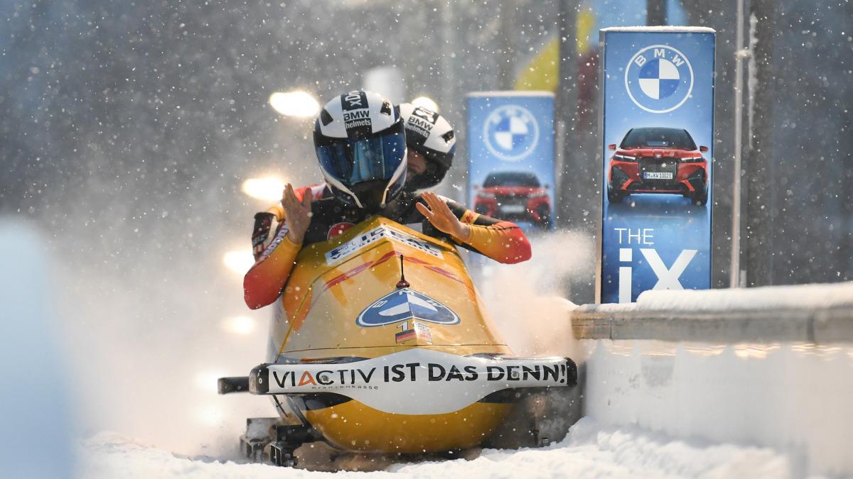 Ab durch den Schnee: Bobpilotin Kim Kalicki holte sich mit Anschieberin Ann-Christin Strack WM-Silber im Zweierbob. (Foto: Viesturs Lacis)