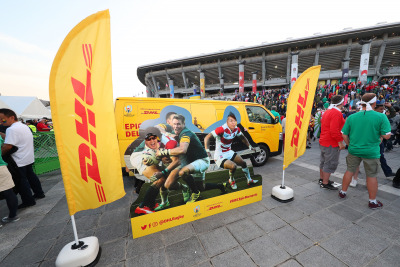A photo van wall allowed visitors to re-enact Japan's 2015 Rugby World Cup victory over South Africa.