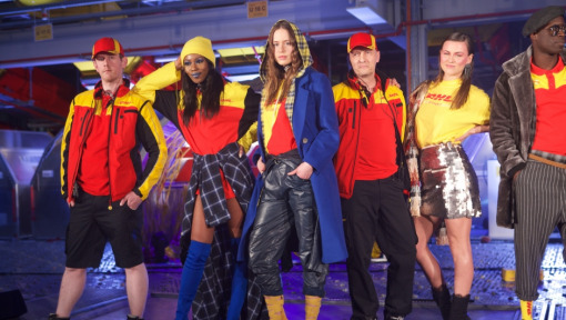 """A Runway of Red & Yellow: """"Fashion meets Logistics"""" at the DHL Cargo Hub in Leipzig"""