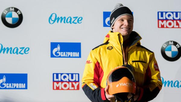 Skeletoni Felix Keisinger freut sich über den ersten Weltcup-Podestplatz seiner Karriere. (Foto: Viesturs Lacis)