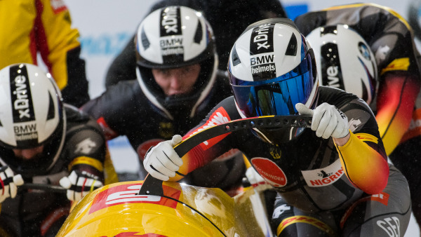 Ein 4er-Bob-Team am Start beim zweiten Weltcup-Wochenende in Lake Placid. (Foto: Viesturs Lacis)