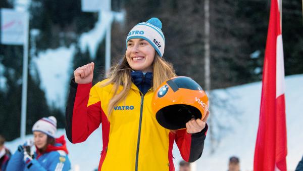 Top-Ergebnis bei harter Konkurrenz: Skeletoni Jacqueline Lölling gewann kontinuierlich an Tempo und fuhr am Ende auf einen super Platz drei. (Foto: Viesturs Lacis)
