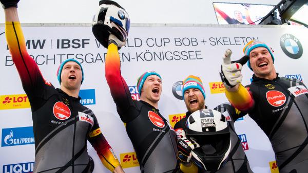Da kommt Freude auf: Das 4er-Team von Francesco Friedrich holte sich in Königssee Platz eins. (Foto: Viesturs Lacis)