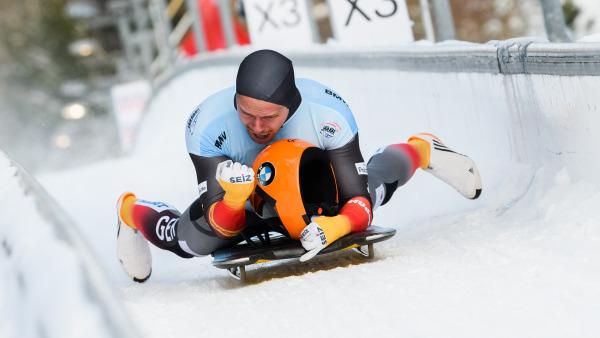 Skeleton-Sensation Christopher Grotheer beim Zieleinlauf im Eiskanal: Nach 20 Jahren hat Deutschland wieder einen Weltmeister. (Foto: Viesturs Lacis)