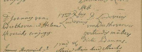 Inscripción de Beethoven en el registro bautismal de la Iglesia de San Remigio, el 17 de diciembre de 1770