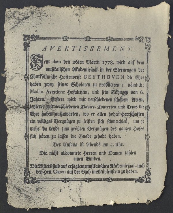 Placard announcing Beethoven's first performance as a pianist in Cologne on March 26, 1778
