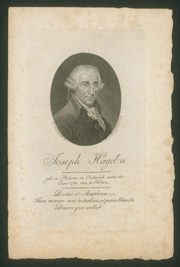 Joseph Haydn (1732-1809) – Stich, wohl von Johann Daniel Laurenz, nach einer Zeichnung von Alexandre Chaponnier