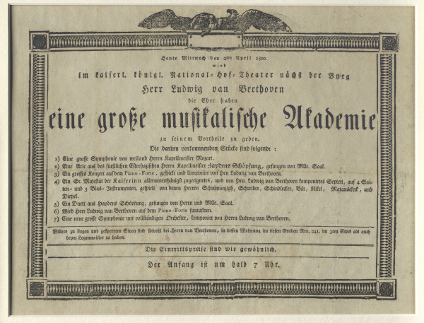 "Placard for Beethoven's first own concert (""Akademie"") in Vienna's Burgtheater on April 2, 1800"
