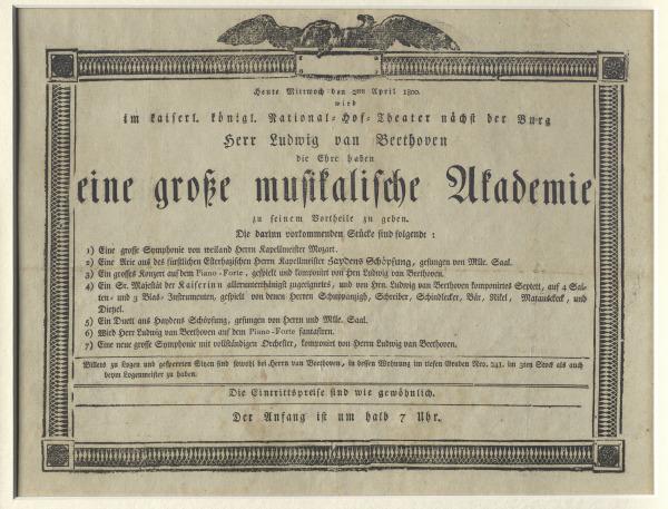 """Anuncio del primer concierto propio (""""Academia"""") de Beethoven en el Burgtheater de Viena, el 2 de abril de 1800"""