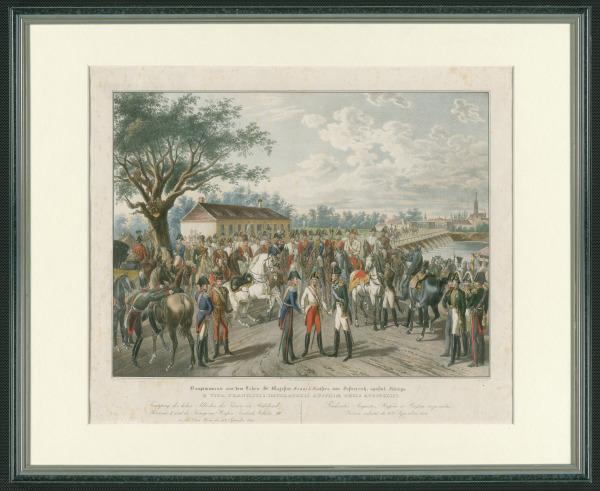 Einzug der alliierten Monarchen in Wien 1814, Kolorierte Lithographie von Franz Wolf nach einer Zeichnung von Johann Nepomuk Hoechle