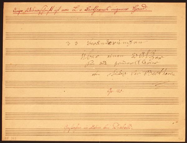 Titelblatt der Diabelli-Variationen, Autograph
