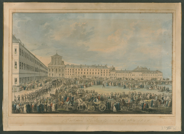 Beethoven's funeral procession in Vienna, 1827, watercolor by Franz Xaver Stöber