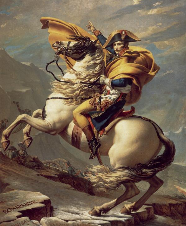 Bonaparte beim Überschreiten der Alpen am Großen Sankt Bernhard, Gemälde von Jacques-Louis David (1800)