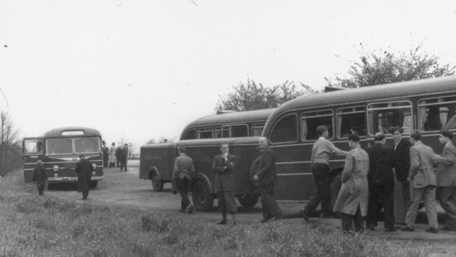Musicians of the Gewandhausorchester on a tour in 1958 (Credit: Gewandhaus Archive / Collection Siegfried Hunger)