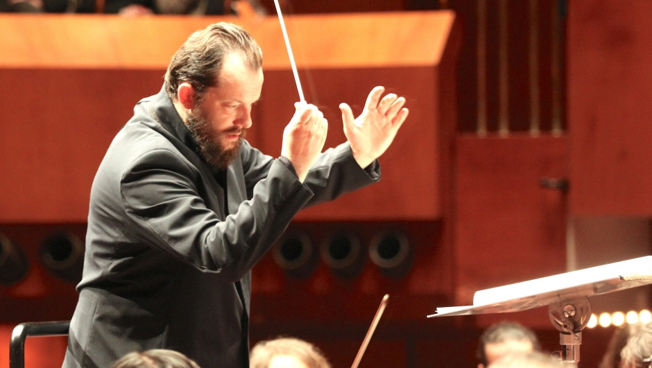 Gewandhauskapellmeister Andris Nelsons leads orchestra
